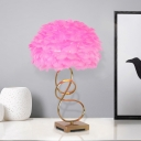 Pink Feather Nightstand Light Modern 1-Light Fabric Night Table Lamp with Twisting Design