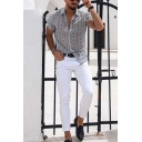 New Fashion Mens Roll Sleeve Spread Collar Button Up All Over Floral Pattern Regular Fit Shirt Top in White