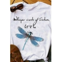Chic Girls Rolled Short Sleeve Crew Neck Letter WHISPER WORDS OF WISDOM Dragonfly Graphic Slim Fit Tee Top