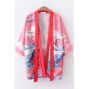 Harajuku Style Womens Three-Quarter Sleeve Open Front Straps Cartoon Cloud Mountain Print Loose Fit Pink Kimono Cardigan