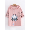 Popular Girls Short Sleeve Drawstring Cartoon Cat Floral Printed Hooded Loose Fit T-Shirt