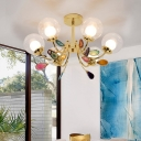 Globe Bedroom Hanging Lighting Clear Glass 6/8 Lights Modernist Pendant Chandelier in Gold with Agate Deco