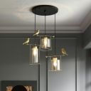 Modernism Cylinder Multi Light Pendant Cream/Smoke Gray Glass 3 Bulbs Dining Room Ceiling Lamp with Gold Bird Deco