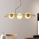 Oval Ring Ceiling Chandelier Post Modern Metal 3 Heads Brass Pendant Light with Globe Frosted Glass Shade