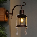 1 Light Wall Mount Lighting Factory Corridor Wall Light Sconce with Lantern Clear Glass Shade in Brass/Copper