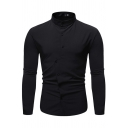 Casual Guys Plain Long Sleeve Stand Collar Irregular Button Up Slim Fitted Shirt Top