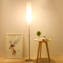 1-Light Living Room Floor Stand Lamp Minimalist White Floor Reading Lamp with Cylinder Fabric Shade