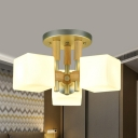 3 Heads Bedroom Semi Flush Modernist Wood Close to Ceiling Lighting with Cube White Glass Shade