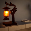 Kerosene Living Room Desk Light Vintage Style Yellow Glass 1 Light Copper Finish Table Lamp with Wood Tree Design