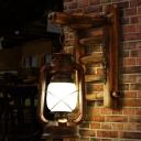 Copper Kerosene Wall Lighting Ideas Industrial Opal Glass 1-Light Bedroom Wall Sconce Light with Bamboo Ladder Deco