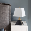 White/Flaxen Trapezoid Table Lighting Modernist 1 Head Fabric Night Lamp with Black Pyramid Base
