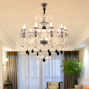 10 Heads Curvy Arm Chandelier Light Traditionalist Black Clear Crystal Glass Candlestick Pendant
