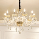 White 8-Light Hanging Chandelier Traditional Faceted Crystal Candlestick Suspension Lamp