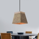 Cement Brown Pendant Light Kit Trapezoid 1 Light Industrial Hanging Lamp Fixture for Restaurant