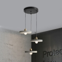3 Lights Multi Pendant Light Vintage Cone/Bell/Drum Cement Hanging Ceiling Lamp in Grey, 3