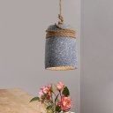 Black/Grey/White 1 Head Pendant Lighting Industrial Cement Bell Hanging Ceiling Lamp with Rope Rod