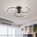 Swirl Designed Semi Flush Mount Light Fixture Contemporary Acrylic Black/Gold LED Ceiling Mount with Rings for Living Room