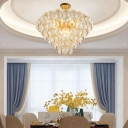 6 Bulbs Semi Flush Mount Contemporary Bedroom Flush Ceiling Lamp with Cone Prismatic Crystal Ball Shade in Gold