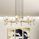 6/8 Lights Diamond Multi Pendant Light Modern Brass Crystal LED Hanging Ceiling Lamp, 27