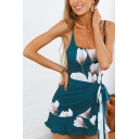 Casual Pretty Womens Sleeveless Square Neck All Over Flower Print Bow Tie Waist Ruffled Trim Mini Fitted Cami Dress