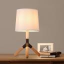 White Barrel Shade Table Lighting Modern Fabric 1 Bulb Bedroom Nightstand Lamp with Wood Tripod