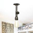 Water Pipe Corridor Semi Flush Mount Vintage Metal 1-Head Bronze Finish Flush Ceiling Lighting