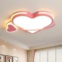 Loving Heart Flushmount Ceiling Lamp Modernist Acrylic Pink LED Flush Light Fixture for Bedroom