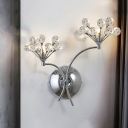 2-Light Faceted Crystal Balls Sconce Modernist Chrome Blooming Bedroom Wall Mounted Light