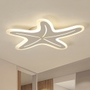 Blue/Pink/White Star Light Fixture Simplicity Acrylic LED Flushmount Ceiling Lamp for Bedroom