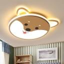 Doggy Flushmount Cartoon Acrylic Yellow LED Ceiling Mount Light Fixture for Kindergarten in Warm/White Light
