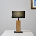 Wood Brick Table Lamp Simplicity 1 Bulb Bedside Nightstand Light with Black Circle Fabric Lampshade