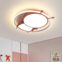 Bee Acrylic Flushmount Light Minimalist LED Pink/Blue Finish Close to Ceiling Lamp for Bedroom