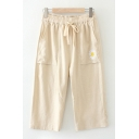 Leisure Womens Drawstring Waist Daisy Floral Embroidered Cropped Relaxed Linen Straight Pants