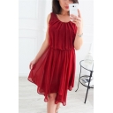 Pretty Ladies Solid Color Sleeveless Round Neck Mesh Midi Pleated A-Line Dress