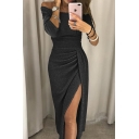 Amazing Womens Plain Three-Quarter Sleeve Off the Shoulder Glitter High Cut Patched Pleated Sheath Dress