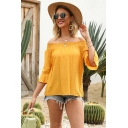 Casual Popular Womens Bell Sleeve Off the Shoulder Ruffled Loose Fit Blouse Top in Yellow