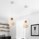 Faceted Bottle Iron Pendant Lighting Minimalist 1 Bulb White Ceiling Suspension Lamp with Mesh Screen and Wood Top