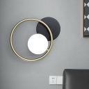 Metallic Loop Wall Lighting Post Modern 1 Head Black and Gold LED Wall Mount Sconce