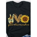 Casual Womens Rolled Short Sleeve Crew Neck Letter PEACE LOVE SUNSHINE Heart Sunflower Graphic Slim Fit T Shirt