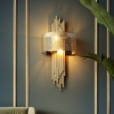 Postmodern 2-Tier Flute Wall Sconce Metal 2-Light Parlor Wall Mounted Lamp in Gold with Half Round Mesh Screen