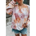 Chic Stylish Womens Long Sleeve Crew Neck Tie Dye Printed Loose Fit Pullover Sweatshirt