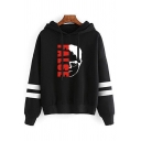 Popular Girls Long Sleeve Drawstring Letter SCHRUTE FARMS Cartoon Graphic Varsity Stripe Relaxed Hoodie