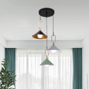 Cone Iron Multiple Hanging Lamp Macaron 3 Heads Black-Pink-Green Finish Drop Pendant Lamp with Ring Buckle Top, Linear/Round Canopy