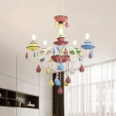 Metallic Curved Arm Pendant Chandelier Macaron 5/6/8-Head Crystal Hanging Light Fixture in blue-Pink-Yellow