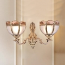 Matte Glass Scalloped Bowl Wall Lamp Traditional 1/2-Bulb Hotel Wall Lighting Ideas in Brass