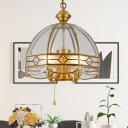 Retro Hemisphere Pull-Chain Pendant 5 Lights Clear Glass Hanging Chandelier in Brass