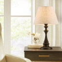 Cone Shade Fabric Night Lamp Vintage 1 Bulb Bedside Table Lighting in White with Baluster Base