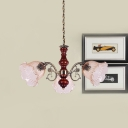 3-Head Floral Ceiling Chandelier Antiqued Red Brown Amber Cracked Glass Pendulum Light