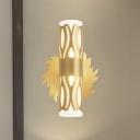 Brass Tube Cutouts Wall Lamp Minimalist Metal 1 Bulb Bedside Sconce Lighting Fixture