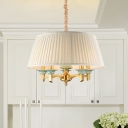 Warehouse Drum Pendant Chandelier 5 Bulbs White Fabric Ceiling Hang Fixture in Brass